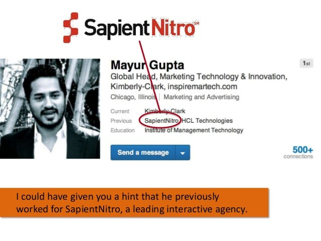 I could have given you a hint that he previously worked for SapientNitro, a leading interactive agency.
