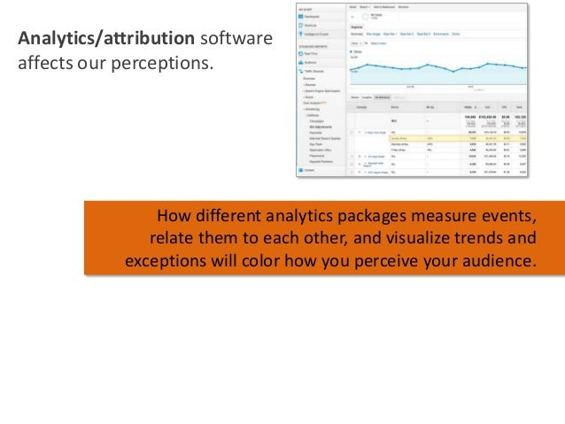 Analytics/attribution software affects our perceptions.  How different analytics packages measure events, relate them to e...