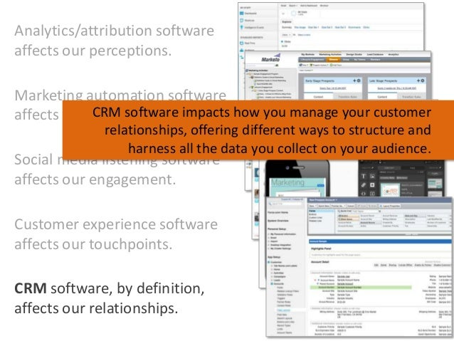 Analytics/attribution software affects our perceptions. Marketing automation software CRM software affects our processes. ...