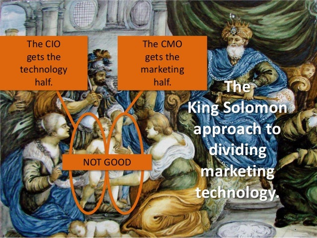 The CIO gets the technology half.  The CMO gets the marketing half.  NOT GOOD  The King Solomon approach to dividing marke...