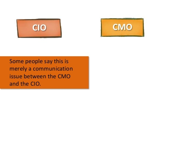 CIO  Some people say this is merely a communication issue between the CMO and the CIO.  CMO