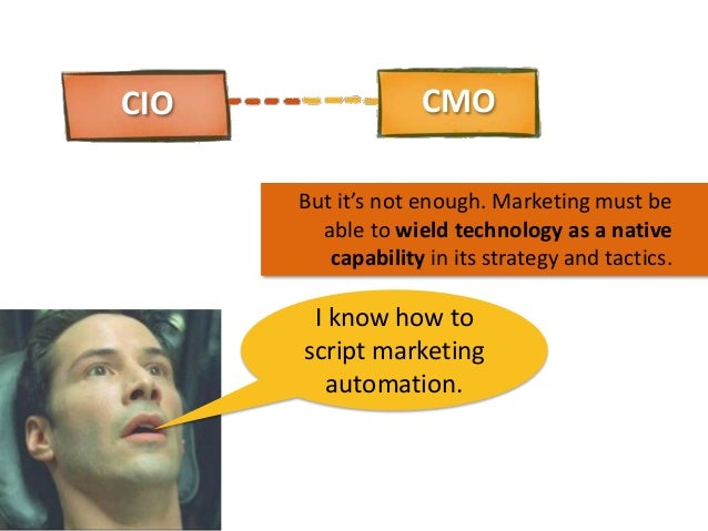 CIO  CMO But it's not enough. Marketing must be able to wield technology as a native capability in its strategy and tactic...