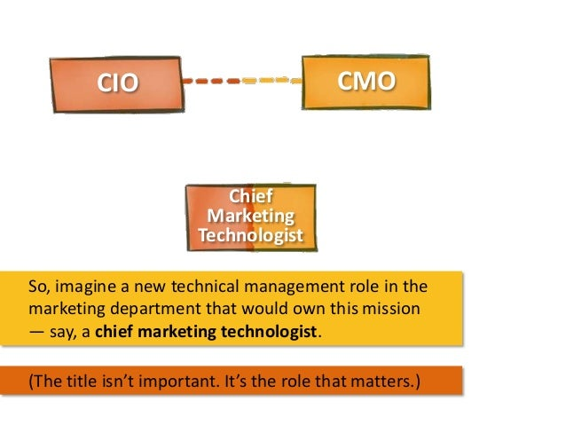 CMO  CIO  Chief Marketing Technologist So, imagine a new technical management role in the marketing department that would ...