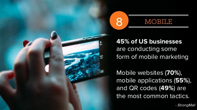 8 MOBILE 45% of US businesses are conducting some form of mobile marketing Mobile websites (70%), mobile applications (55%...