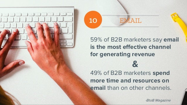 10 EMAIL 59% of B2B marketers say email is the most effective channel for generating revenue & 49% of B2B marketers spend m...