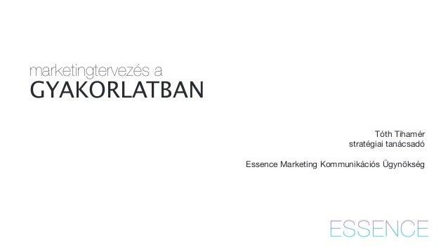 marketingtervezés a  GYAKORLATBAN  !  Tóth Tihamér  stratégiai tanácsadó  !  Essence Marketing Kommunikációs Ügynökség