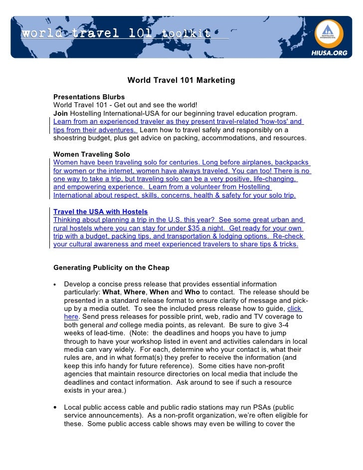 World Travel 101 Marketing  Presentations Blurbs World Travel 101 - Get out and see the world! Join Hostelling Internation...