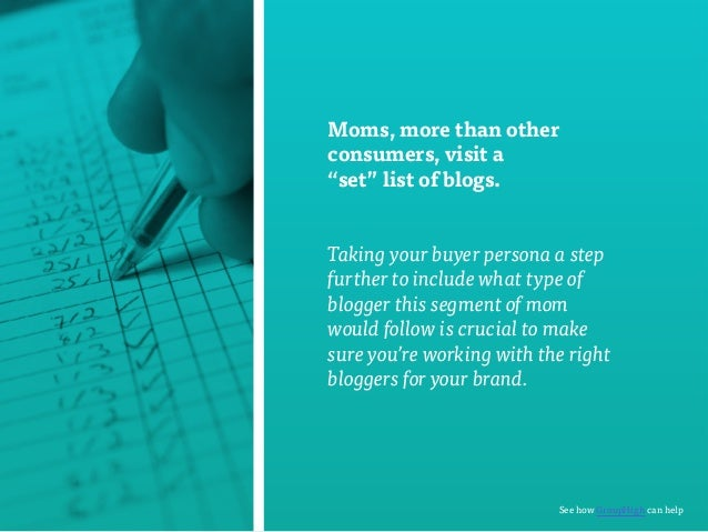 """Moms, more than other  consumers, visit a  """"set"""" list of blogs.  Taking your buyer persona a step  further to include what..."""