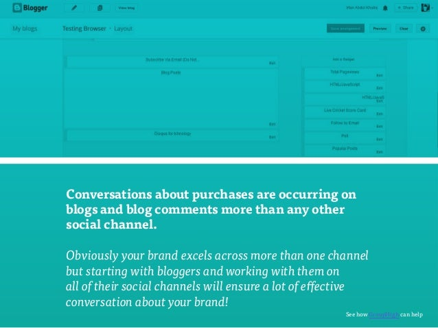 Conversations about purchases are occurring on  blogs and blog comments more than any other  social channel.  Obviously yo...