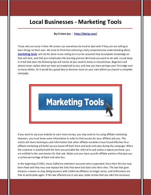 Local Businesses - Marketing Tools_____________________________________________________________________________________   ...