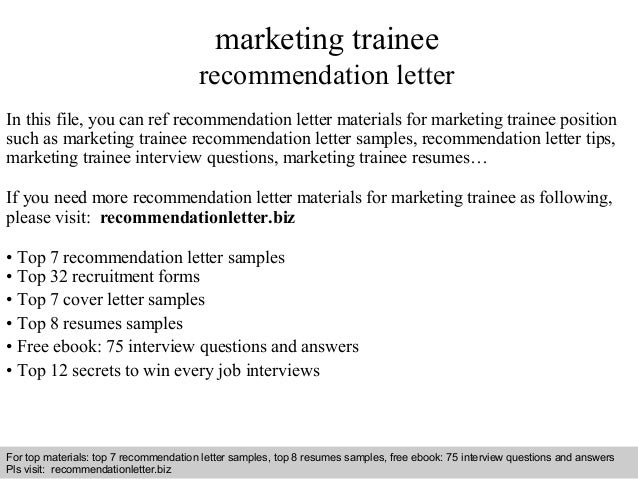 Letter Of Recommendation School Principal: Marketing Trainee Recommendation Letter