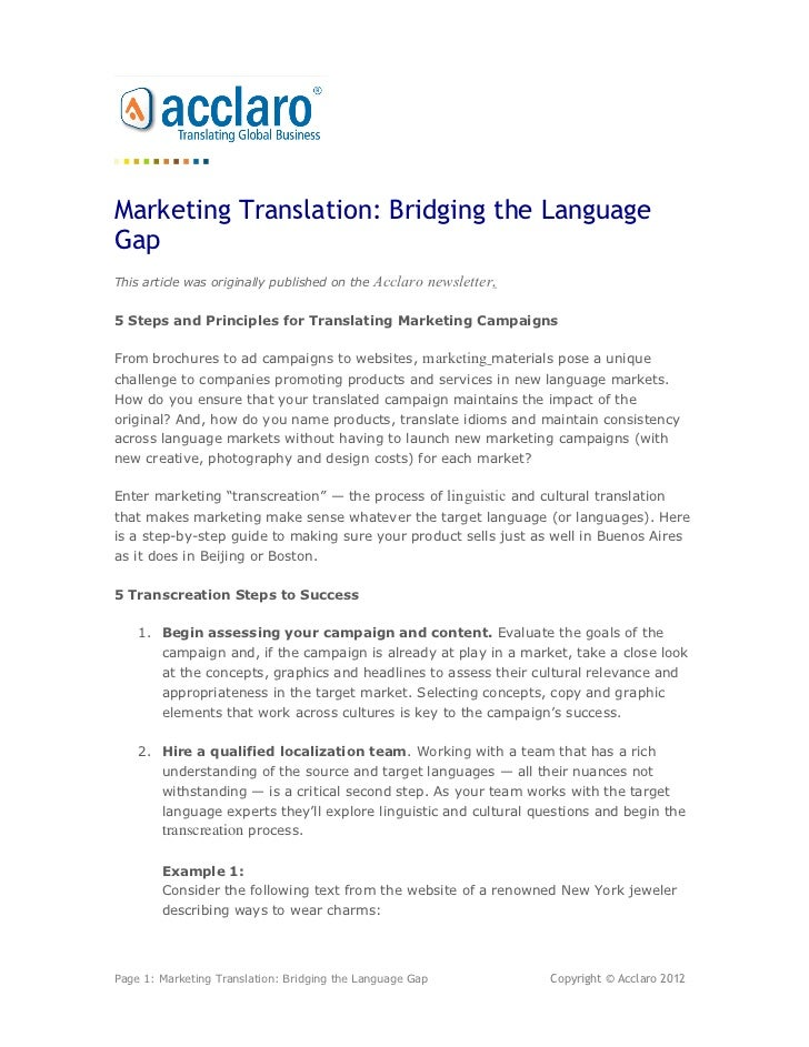 Marketing Translation: Bridging the LanguageGapThis article was originally published on the   Acclaro newsletter.5 Steps a...