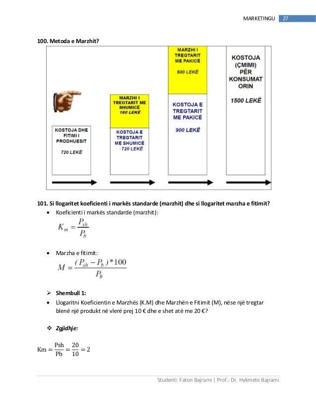 Studenti: Faton Bajrami   Prof.: Dr. Hykmete Bajrami 27MARKETINGU 100. Metoda e Marzhit? 101. Si llogaritet koeficienti i ...