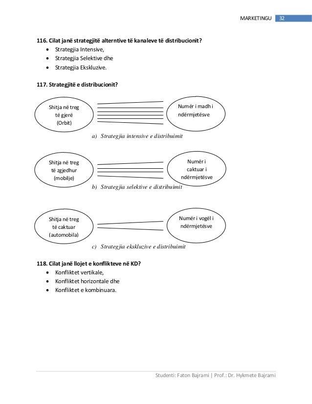 Studenti: Faton Bajrami   Prof.: Dr. Hykmete Bajrami 32MARKETINGU 116. Cilat janë strategjitë alterntive të kanaleve të di...