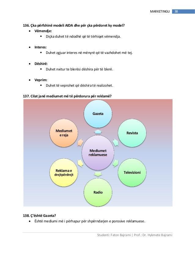 Studenti: Faton Bajrami   Prof.: Dr. Hykmete Bajrami 38MARKETINGU 136. Çka përfshinë modeli AIDA dhe për çka përdoret ky m...