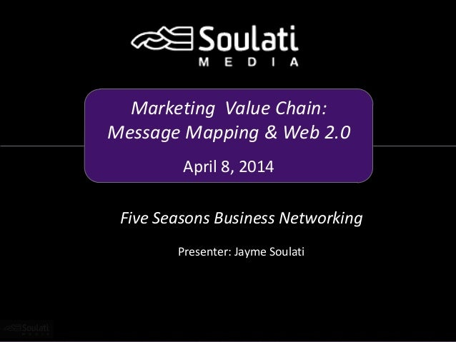 Marketing Value Chain: Message Mapping & Web 2.0 April 8, 2014 Five Seasons Business Networking Presenter: Jayme Soulati