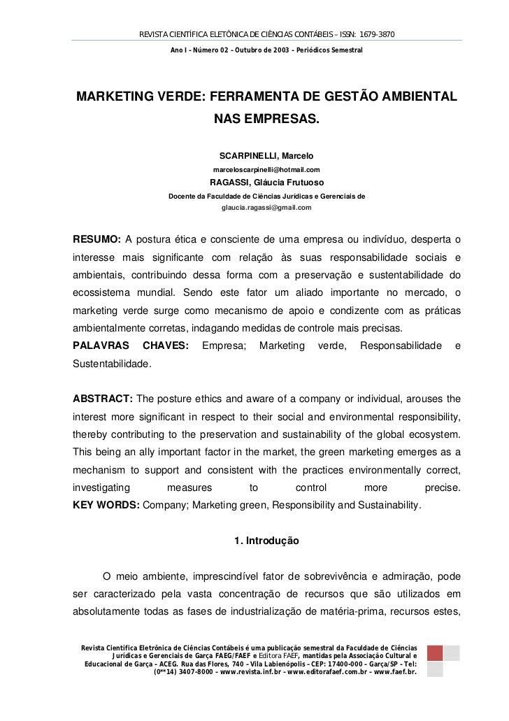 REVISTA CIENTÍFICA ELETÔNICA DE CIÊNCIAS CONTÁBEIS – ISSN: 1679-3870                            Ano I – Número 02 – Outubr...