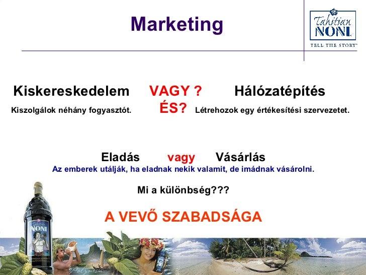Marketing Kiskereskedelem  VAGY ?   Hálózatépítés Kiszolgálok néhány fogyasztót.   ÉS?  Létrehozok egy értékesítési szerve...