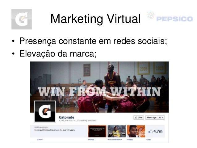 Marketing Virtual • Presença constante em redes sociais; • Elevação da marca;