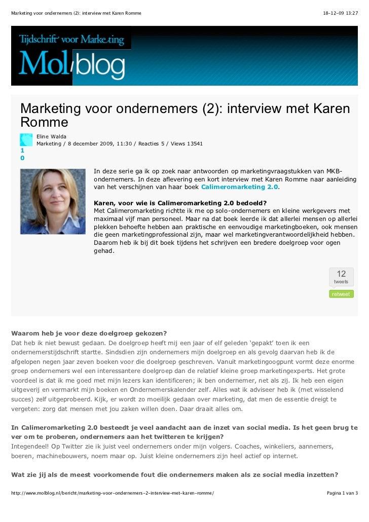 Marketing voor ondernemers (2): interview met Karen Romme                                                      18-12-09 13...