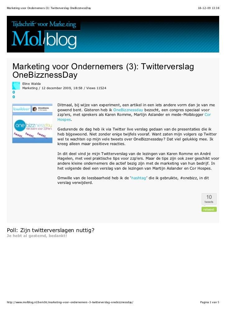 Marketing voor Ondernemers (3): Twitterverslag OneBizznessDay                                                   18-12-09 1...