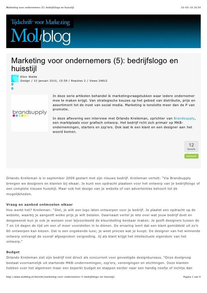 Marketing voor ondernemers (5): bedrijfslogo en huisstijl                                                         10-03-10...
