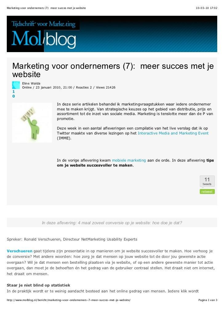Marketing voor ondernemers (7): meer succes met je website                                                     10-03-10 17...