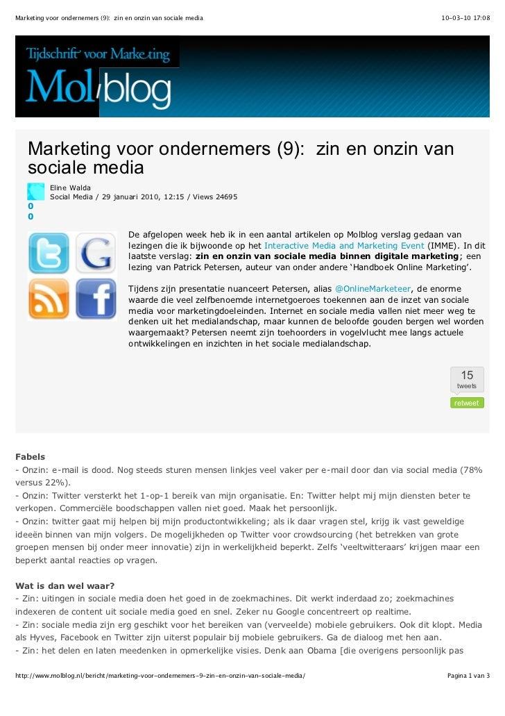 Marketing voor ondernemers (9): zin en onzin van sociale media                                                 10-03-10 17...