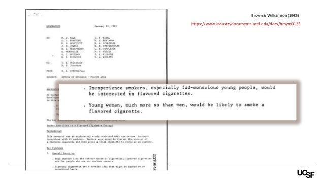 https://www.industrydocuments.ucsf.edu/docs/hmym0135 Brown & Williamson (1985)
