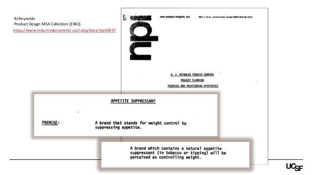 https://www.industrydocuments.ucsf.edu/docs/njwk0037 RJ Reynolds Product Design MSA Collection (1982)