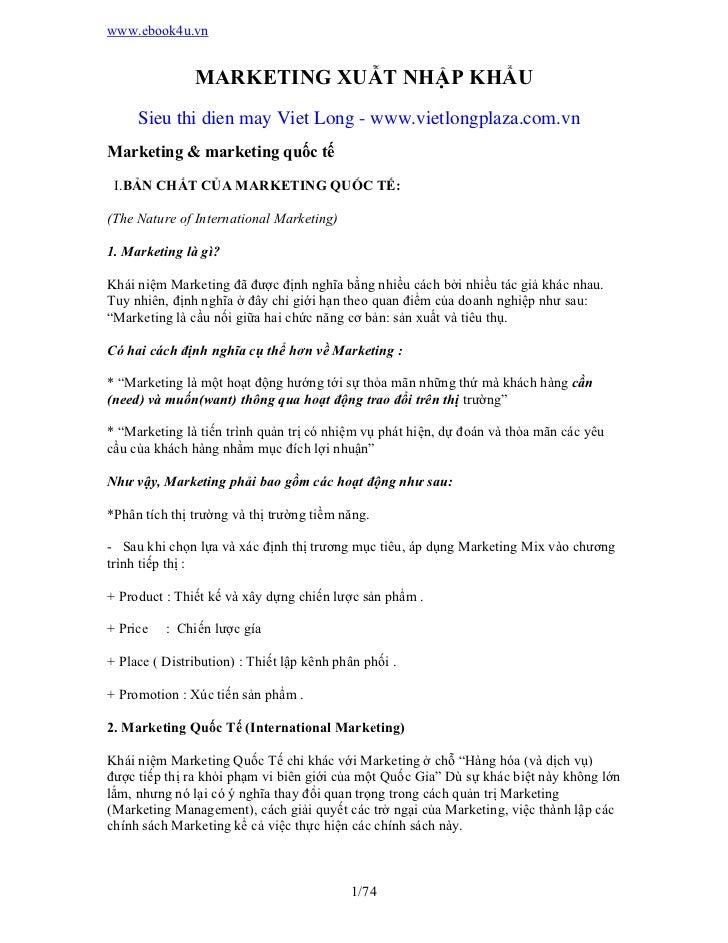 www.ebook4u.vn               MARKETING XUẪT NHẬP KHẨU     Sieu thi dien may Viet Long - www.vietlongplaza.com.vnMarketing ...