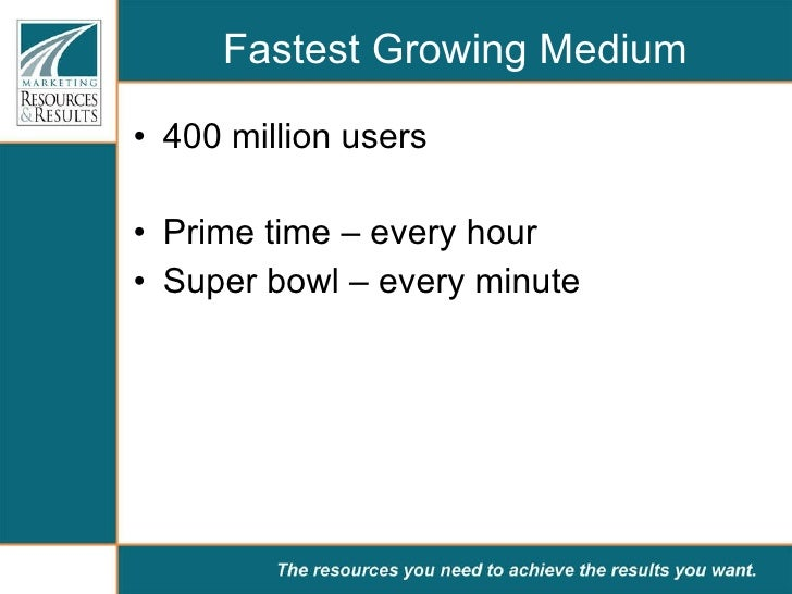 Fastest Growing Medium <ul><li>400 million users </li></ul><ul><li>Prime time – every hour </li></ul><ul><li>Super bowl – ...