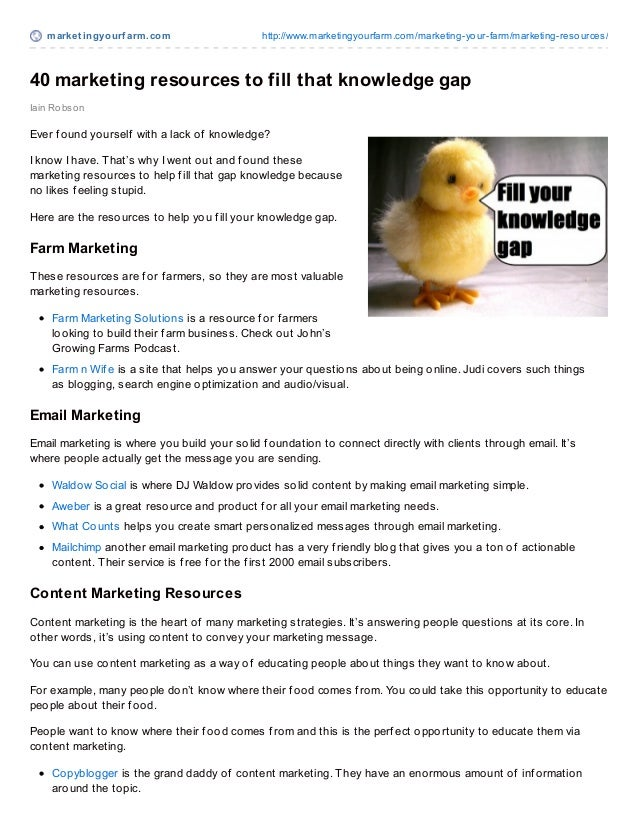 market ingyourf arm.com http://www.marketingyourfarm.com/marketing-your-farm/marketing-resources/40 marketing resources to...