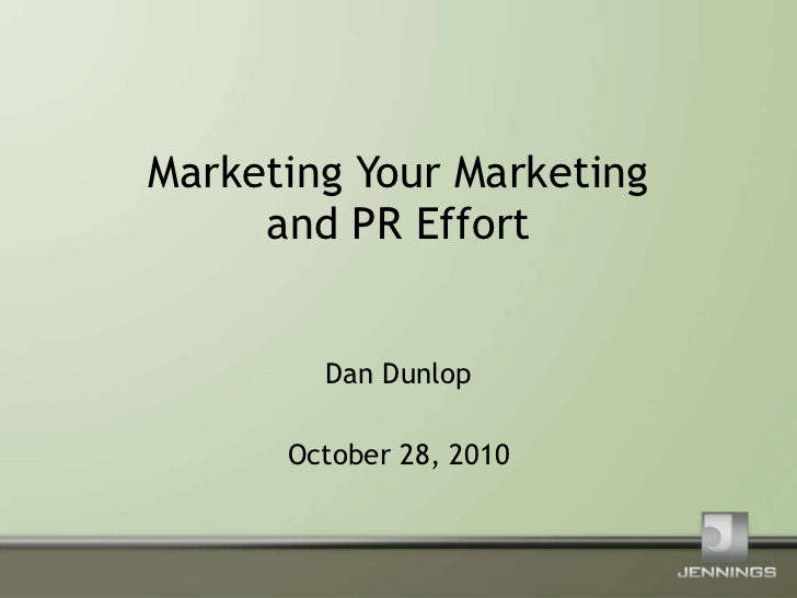 Marketing Your Marketing - NESHCo Presentation