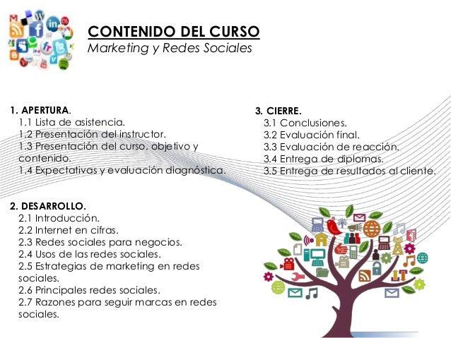 CONTENIDO DEL CURSO Marketing y Redes Sociales 1. APERTURA. 1.1 Lista de asistencia. 1.2 Presentación del instructor. 1.3 ...