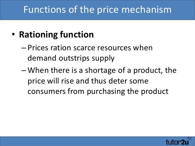 price is a rationing device After you complete this unit, you should be able to: explain why prices can be a way of rationing explain the effects of price ceilings and price floors.