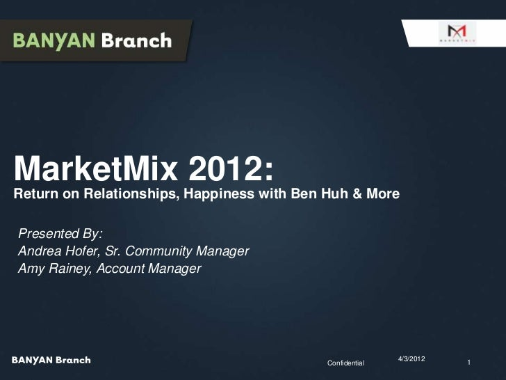 MarketMix 2012:Return on Relationships, Happiness with Ben Huh & MorePresented By:Andrea Hofer, Sr. Community ManagerAmy R...