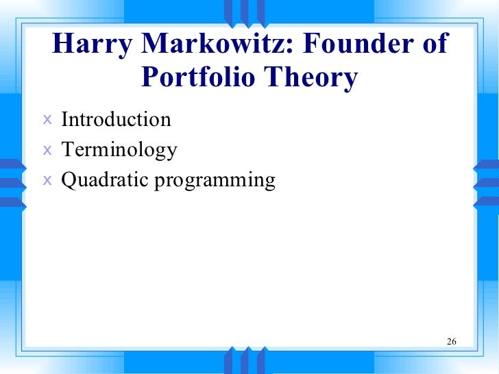 markowitz portfolio theory 1952 pdf