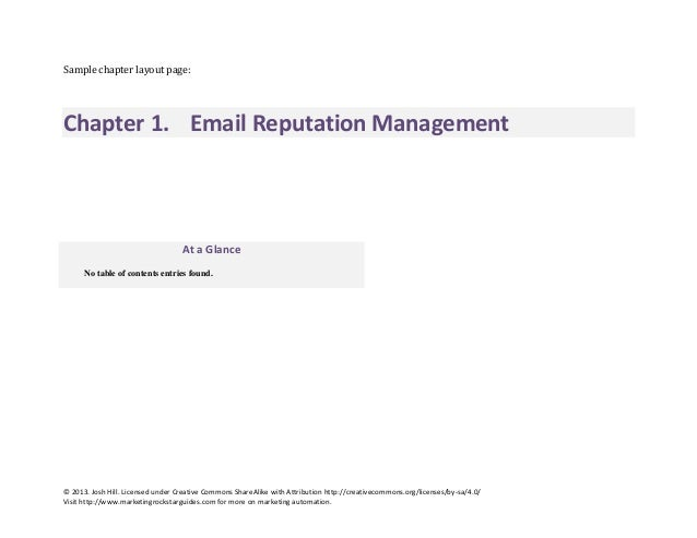Sample chapter layout page:  Chapter 1. Email Reputation Management  At a Glance No table of contents entries found.  © 20...