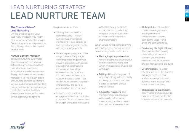 25 LEAD NURTURING STRATEGY LEAD NURTURE TEAM The Scientific Side of Lead Nurturing To balance out your nurture team you ne...