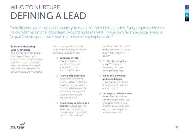 36 WHO TO NURTURE LEAD SCORING Lead scoring is a key element to lead nurturing that helps companies determine whether pros...