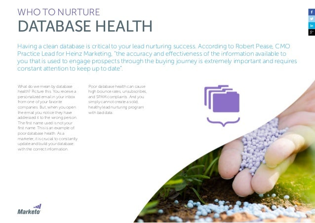 46 WHO TO NURTURE DATABASE HEALTH Josh Hill, Marketo Practice Lead at Perkuto, recommends taking the following steps to ma...