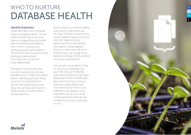 48 WHO TO NURTURE DATABASE HEALTH Remove Inactive Contacts Inactive contacts clutter your database and affect your overall...