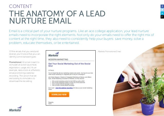 69 CONTENT THE ANATOMY OF A LEAD NURTURE EMAIL Alert: Alerts offer convenience; they are emails triggered by a certain eve...