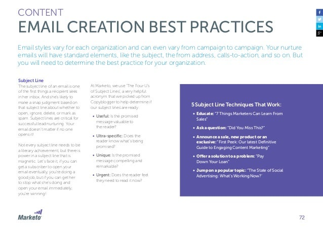 73 CONTENT EMAIL CREATION BEST PRACTICES How Long Should Subject Lines Be? Some marketers argue that subject lines should ...