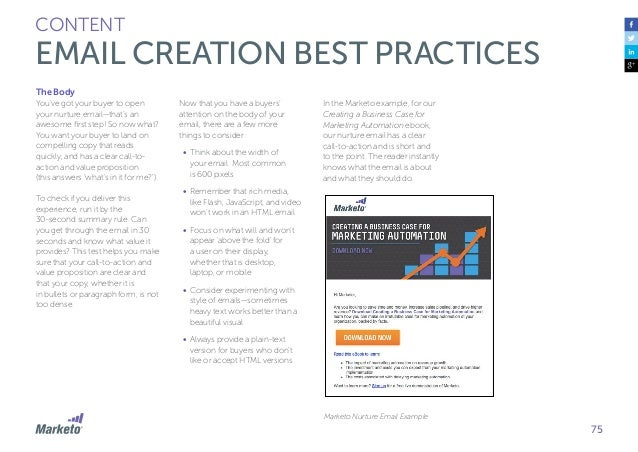 76 CONTENT EMAIL CREATION BEST PRACTICES Design The design of your communication is heavily related to the images that you...