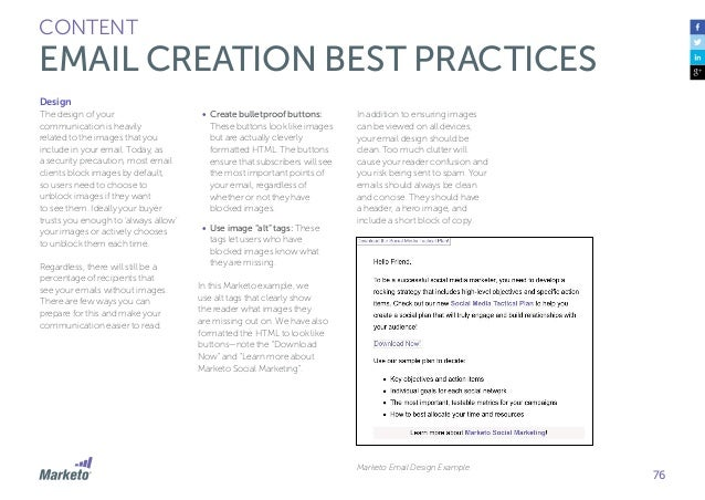 77 CONTENT EMAIL CREATION BEST PRACTICES Calls-To-Action Calls-to-action live in the body of an email and draw the buyers'...
