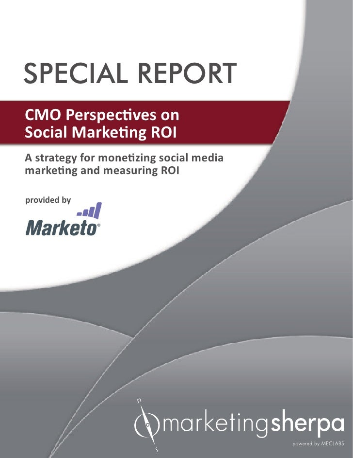 SPECIAL REPORTCMO Perspectives onSocial Marketing ROIA strategy for monetizing social mediamarketing and measuring ROIprov...