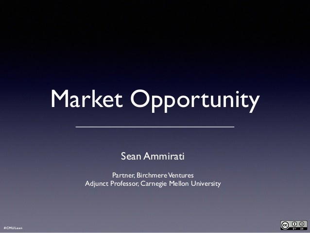 Market Opportunity ! Sean Ammirati  Partner, BirchmereVentures  Adjunct Professor, Carnegie Mellon University #CMULean