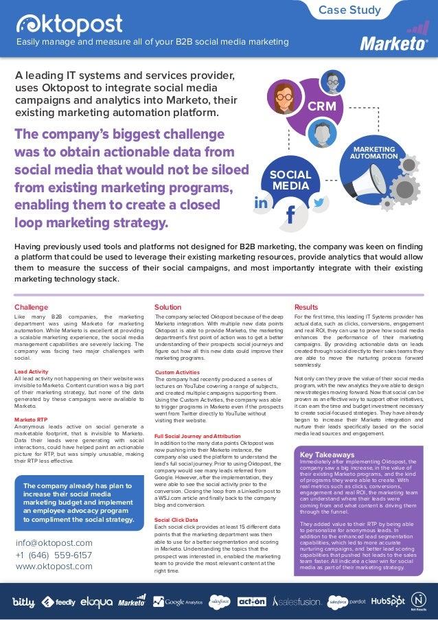 info@oktopost.com +1 (646) 559-6157 www.oktopost.com Easily manage and measure all of your B2B social media marketing Case...